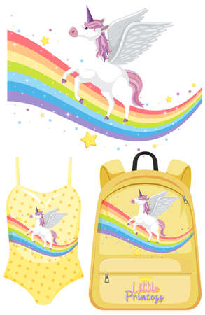 Set of unicorn clothes mock up illustration
