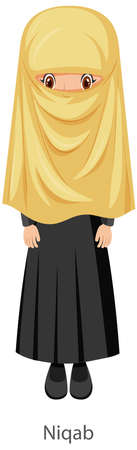 A woman wearing Niqab Islamic traditional veil cartoon character illustration Иллюстрация