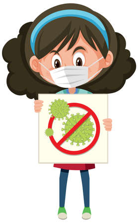 Girl wearing mask and holding stop coronavirus sign illustration