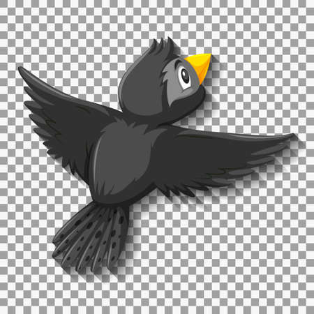 Black bird cartoon character illustration