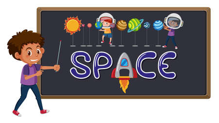 Space logo on blackboard with cute boy isolated illustration Иллюстрация