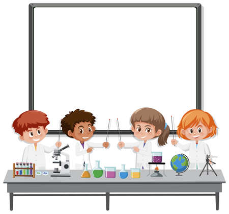 Blank white board and children in scientist character isolated illustration