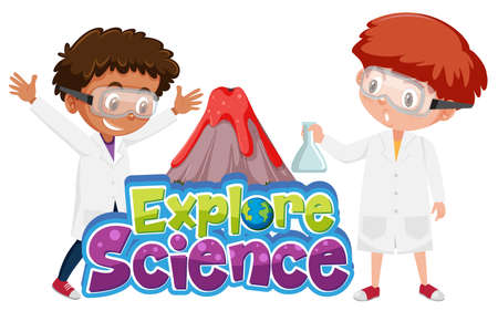 Explore science logo and children with volcano science experiment isolated illustration Иллюстрация