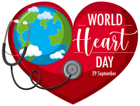 Isolated World Heart Day logo illustration