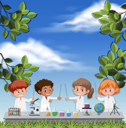 Kids wearing scientist costume on sky background illustration