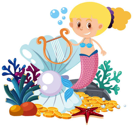 Mermaid cartoon on white background illustration
