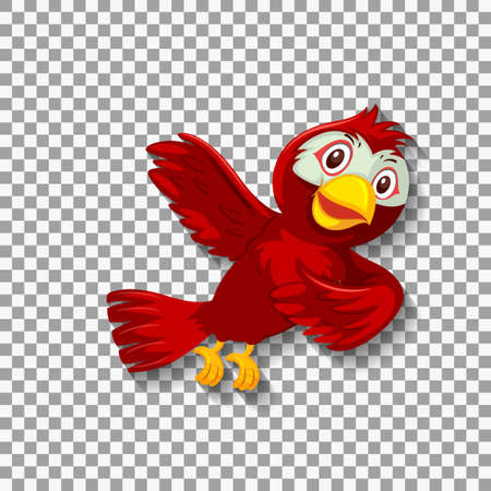 Cute red bird cartoon character illustration