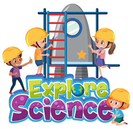 Explore science logo with kids wearing engineer isolated illustration Иллюстрация
