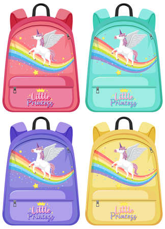 Set of unicorn backpack illustration