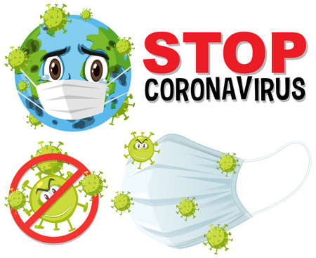 Stop coronavirus text sign with coronavirus theme illustration