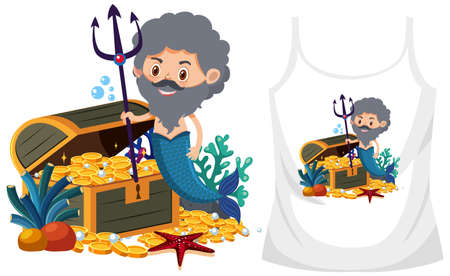 Merman theme outfit mock up illustration