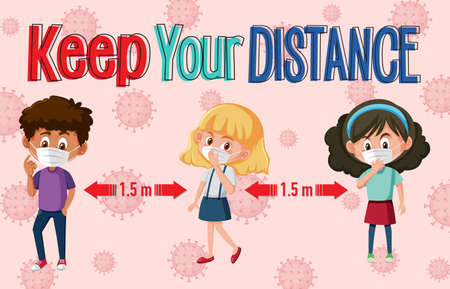 Keep your distance or social distancing sign with children cartoon characters illustration