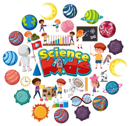 Science kids logo with many planets in circle shape  illustration