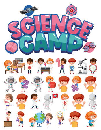Science camp logo and set of children with education objects isolated illustration Иллюстрация