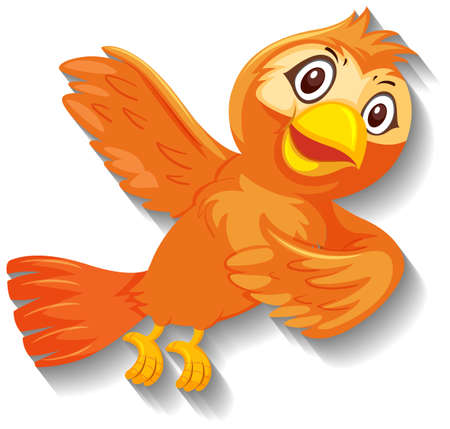 Cute orange bird cartoon character illustration Иллюстрация