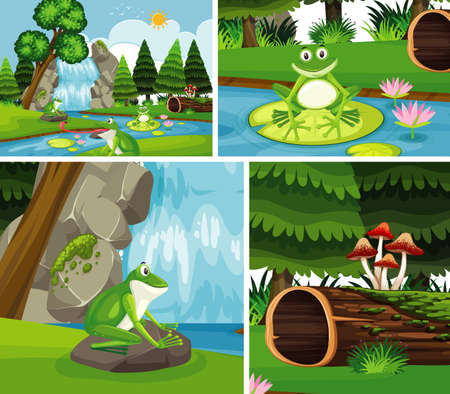 Frogs in nature background set illustration