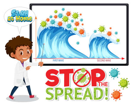 Stop spreading the coronavirus with second wave graph illustration Иллюстрация