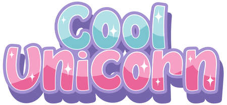 Cool unicorn logo with in pastel color with sparkling illustration