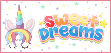 Sweet dreams logo in pastel color with cute unicorn and little star illustration