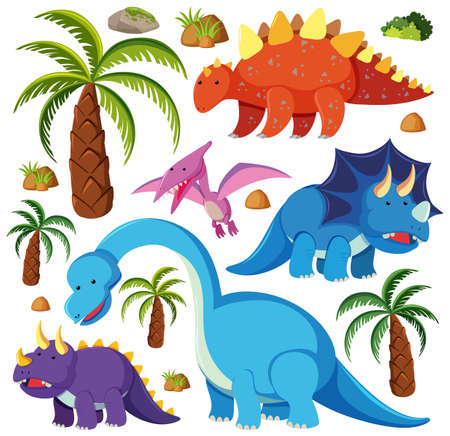 Set of cute dinosaurs isolated on white background illustration Иллюстрация