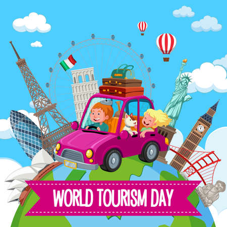World tourism day logo with couple tourist and famous tourist landmarks elements illustration