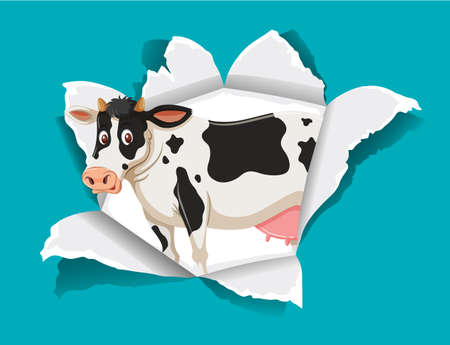 Background template design with cute cow illustration
