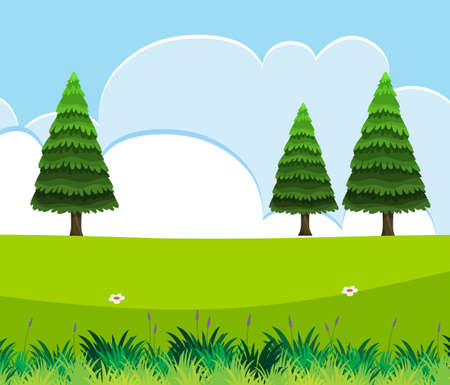 Empty nature scenes with green pines with blank sky illustration Иллюстрация