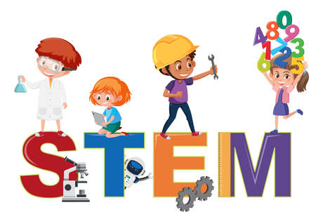 Stem logo with kids in many education activities isolated illustration