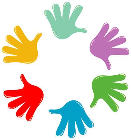 Set of different color hands isolated on white background illustration Vektoros illusztráció