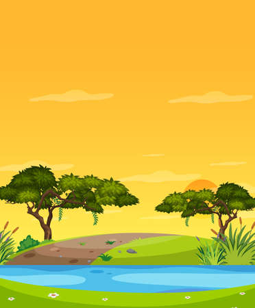 Vertical nature scene or landscape countryside with forest riverside view and yellow sunset sky view illustration