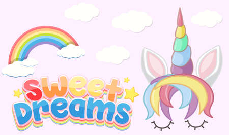 Sweet dreams logo in pastel color with cute unicorn and rainbow illustration