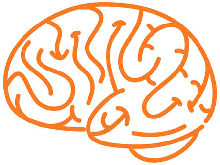 Orange brain multiple sclerosis awareness sign or object illustration