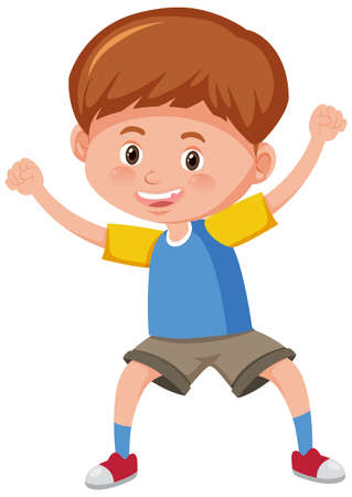 Cute boy smile in standing pose cartoon character isolated on white background illustration Vector Illustration