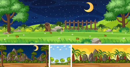 Four background different nature scenes with green trees in different times illustration