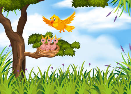 Hungry chicks on the nest illustration