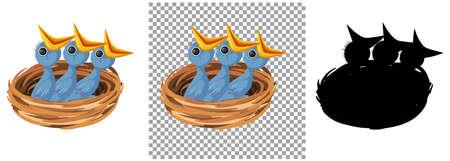 Bird chicks cartoon character illustration Иллюстрация