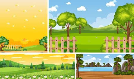 Four different scene of nature place in vertical and horizon scenes at daytime illustration Иллюстрация