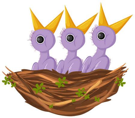 Purple chick cartoon character illustration Иллюстрация