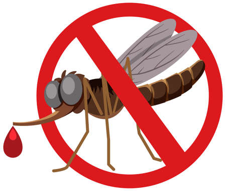 Forbidden Mosquito in cartoon style isolated on white background illustration