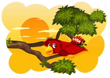 Bird in nature sunset scene illustration