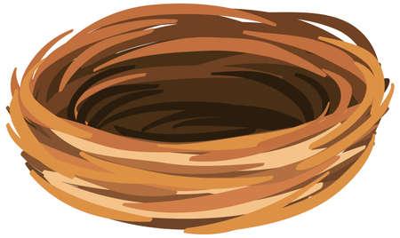 Isolated empty bird nest on white background illustration Ilustración de vector