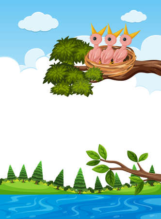 Chicks in nest on tree branch illustration