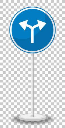 Blue traffic sign on transparent background illustration