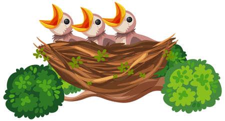 Hungry chicks cartoon character illustration