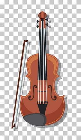 Classic violin isolated on transparent background illustration