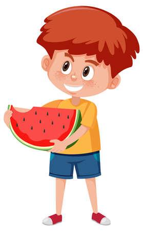 Children cartoon character holding fruit or vegetable isolated on white background illustration
