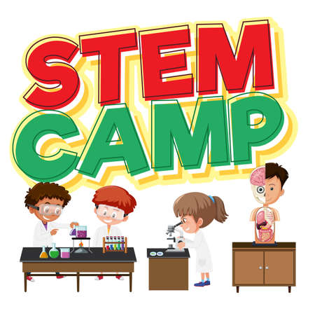 Stem camp logo and children in scientist character isolated illustration