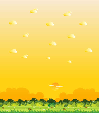 Vertical nature scene or landscape countryside with forest view and yellow sunset sky view illustration