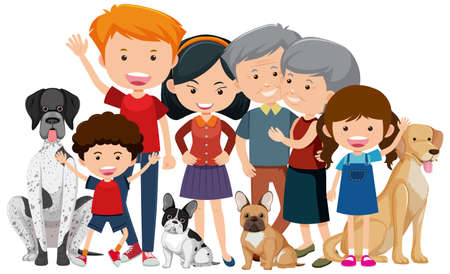 Family members with their pet dog on white background illustration