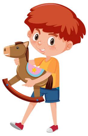 Boy holding rocking horse cartoon character isolated on white background illustration